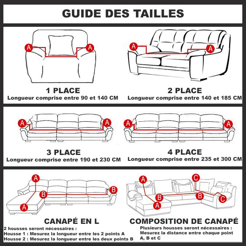 Guide de taille de housse de canapé extensible - housse de France